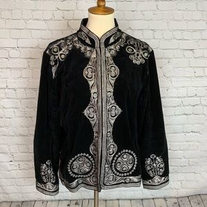Chico's Silver embroidered black jacket 1X